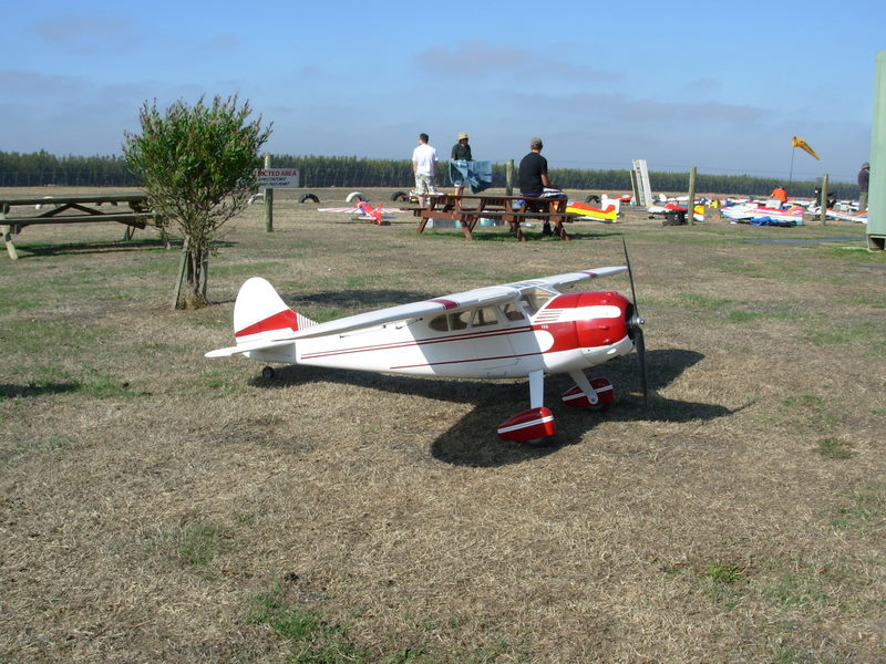 Glenn White's Cessna 195 powered by a Zenoah 62cc petrol engine at our field in January 2007