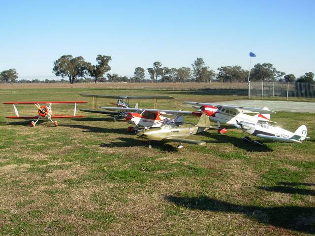 VFSAA Trophy Shepparton Victoria 7th June 2008 - BRMFC entrants: Roger's Super Stearman, Noel's Gypsey Moth, Graemes's Super Cub, Roger's P39 Airacobra, Glenn's Cessna 195 and Rick's Percival Gull.